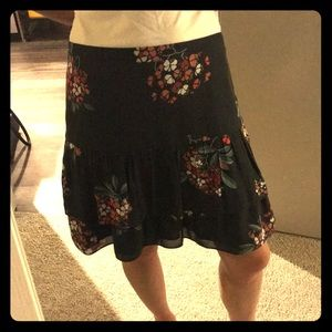 Size 2 charcoal gray with flowers skirt